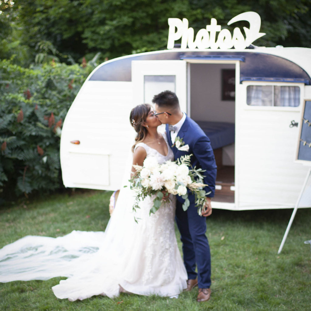 Bride And Groom Portrait Session In Front Of Fort Photo Booths Vintage Camper Photo Booth: The Barn At Wight Farm Sturbridge, Ma